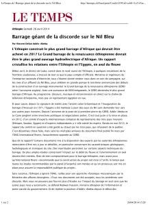 LeTemps.ch | Barrage géant de la discorde sur le Nil Bleu