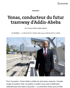 Yonas, conducteur du futur tramway d'Addis-Abeba