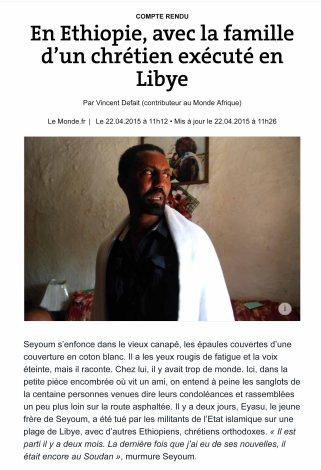 En Ethiopie, avec la famille d'un chrétien exécuté par l'EI
