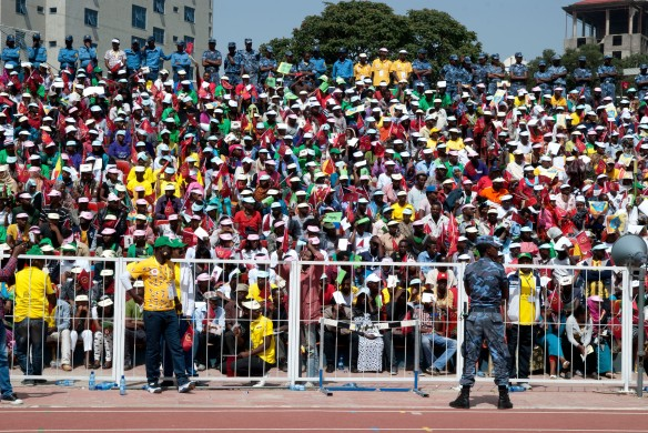 Mai 2015 - Des partisans du parti au pouvoir, l'EPRDF, dans le s